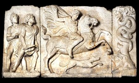 escultura romana: Escena de la caza del jabal�, escultura antigua Roma,