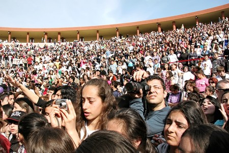 Istanbul - April 25, 2010: Fans of Manga rock group who perform live at Maltepe Campus Stock Photo - 7124349