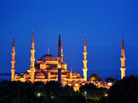 Sultanahmet Camii most famous as Blue Mosque on night in Istanbul