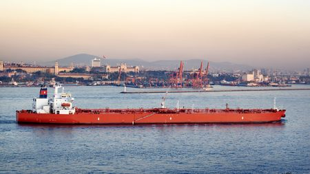 Large oil tanker  Stock Photo