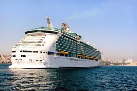 liner transportation: Luxury cruise ship in Bosporus, Istanbul Stock Photo