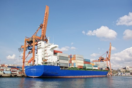 Cargo ship with freight containers Stock Photo