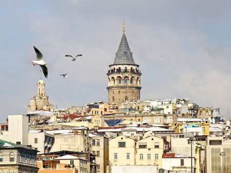 Galata tower in winter Stock Photo