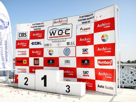 winners podium: ISTANBUL - SEPTEMBER 25, 2010: The podium of Fatih Grand Prix ready for the ceremony at UIM World Offshore 225 Championship