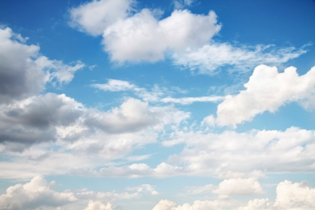 cumulus: Beautiful cloudscape on bright blue sky as background Stock Photo