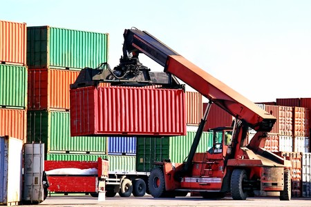 work load: Mobile container crane at harbor