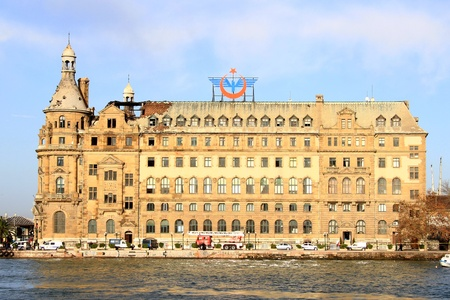 severely: ISTANBUL - NOVEMBER 29:  Fire severely damages Haydarpasa Central Station on November 28, 2010 in Istanbul. Built by Sultan Abdulhamid in 1908 as the starting point of the Istanbul-Baghdad railroad
