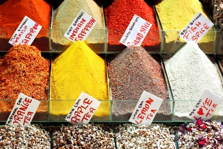 Indian saffron and colorful spices on display photo