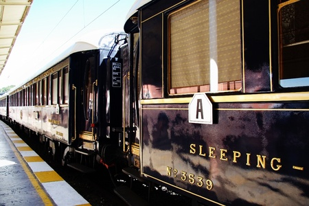 ISTANBUL - SEPTEMBER 02, 2009: Orient Express arrives at last stop at 14:30 pm. Legendary luxury train travels between Paris and Istanbul since 1883