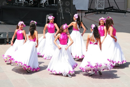 show folk: ISTANBUL - APRIL 23: Venezuelan girls perform in traditional costume at National Sovereignty and Children Day festival on April 23, 2010 in Istanbul, Turkey Editorial