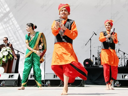indian dance: ISTANBUL - APRIL 23: Indian children in traditional costume perform at National Sovereignty and Children Day festival on April 23, 2010 in Istanbul, Turkey