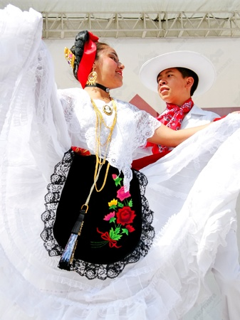 ISTANBUL - APRIL 23: Mexican couple in traditional costume perform folk dance at National Sovereignty and Children Day festival on April 23, 2010 in Istanbul, Turkey