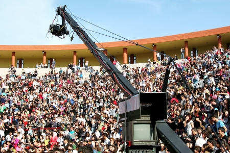 sovereignty: ISTANBUL - APRIL 23: Professional JIB camera records live  at National Sovereignty and Children Day festival on April 23, 2010 in Istanbul, Turkey
