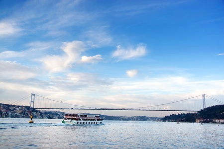 Istanbul seascape with Bosporus Bridge 스톡 사진