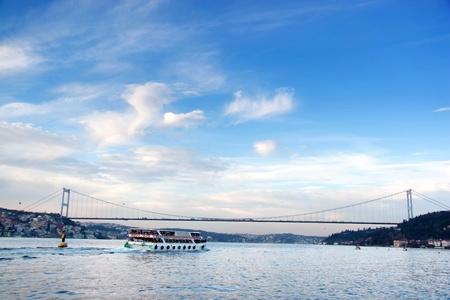 Istanbul seascape with Bosporus Bridge Stock Photo