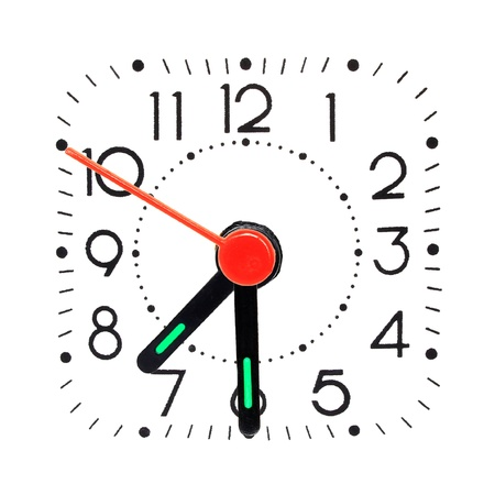 oclock: Clock showing half past 7 oclock. Isolated on white background Stock Photo