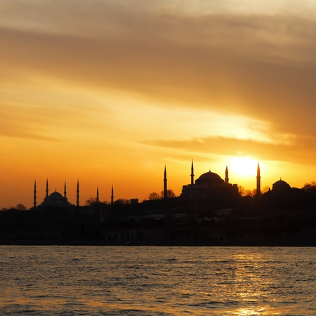 hagia sophia: Hagia Sophia and Blue Mosque on sunset in Istanbul  Stock Photo