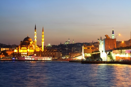historical landmark: Evening at Eminonu, Istanbul Stock Photo