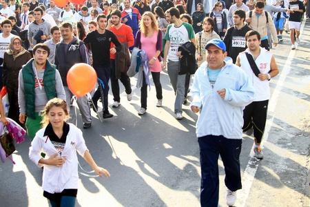 ISTANBUL - OCTOBER 17: Thousands of people in 32nd Intercontinental Eurasia Marathon run make their way through Bosporus suspended bridge on October 17, 2010 in Istanbul, Turkey.  Stock Photo - 9371729