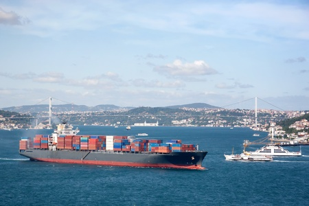 seaport: Container Ship in Bosporus Sea