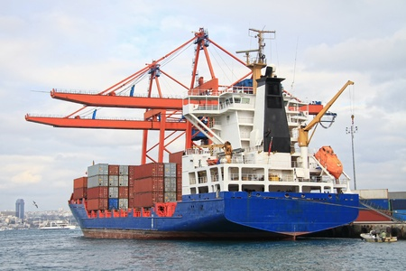 Container cargo ship docked in port photo