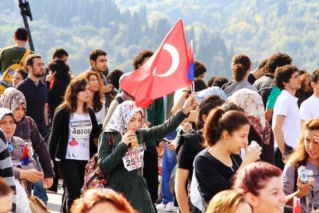 Istanbul, Turkey - October 17, 2010 : Thousands of people make their way through Bosporus suspended bridge during the 32nd Intercontinental Eurasia Marathon run.