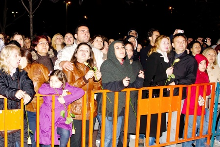 ISTANBUL - MAY 8 : Leman Sam fans cheer during a concert dedicated to the International Women's Day at Maltepe open air stage on May 8, 2011 in Istanbul, Turkey.  Stock Photo - 9564516