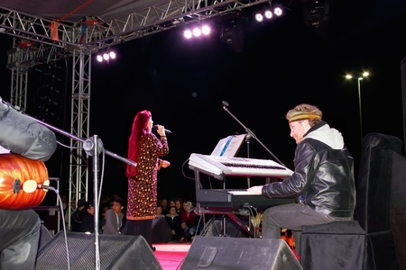 ISTANBUL - MAY 8 : Singer Leman Sam performs live during a concert dedicated to the International Womens Day at Maltepe open air stage on May 8, 2011 in Istanbul, Turkey.