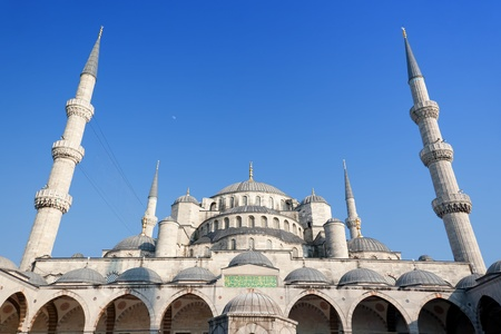 Istanbul Sultanahmet Camii under blue sky in Summer time photo