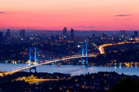 Istanbul Bosporus Bridge on sunset photo