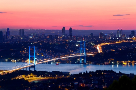 bosporus: Istanbul Bosporus Bridge on sunset