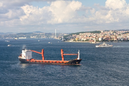 Cargo ship at Bosporus, Istanbul photo