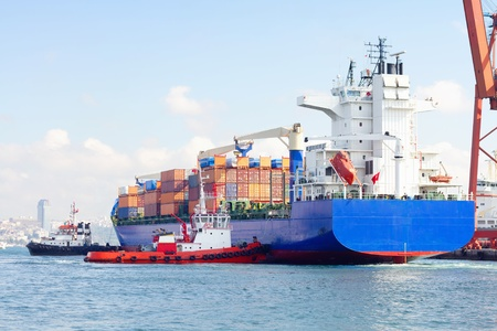 Container ship and tug boats photo