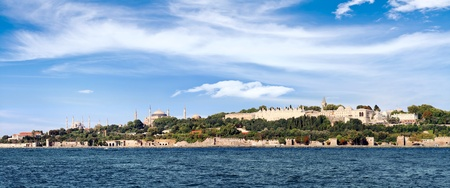 topkapi: Istanbul in panoramic view. Left to right Blue Mosque, Hagia Sophia and Topkapi Palace seen from above
