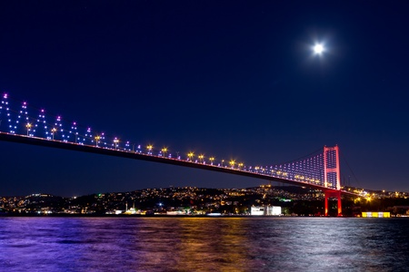 Night scene of Istanbul Bosporus Bridge Stock Photo - 10596713