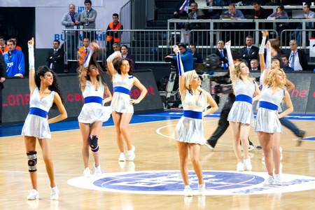 ISTANBUL - JANUARY 20: Efes Cheerleaders perform routines at THY Euroleage Top 16 Championship basketball game Efes Pilsen vs Montepaschi Siena January 20, 2011 in Istanbul
