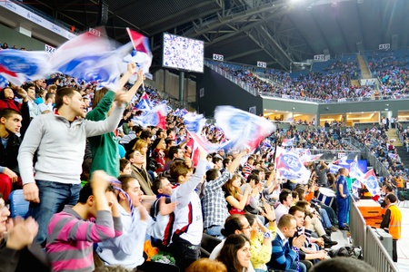 ISTANBUL - JANUARY 20: Crowd of Efes fans support their team during THY Euroleage Top 16 Championship, Efes Pilsen vs Montepaschi Siena January 20, 2011 in Istanbul, Turkey