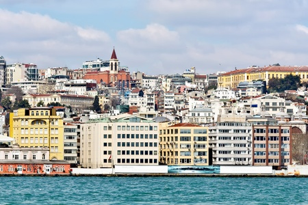 bosporus: Tophane Coast with St Anton Church in Istanbul Stock Photo