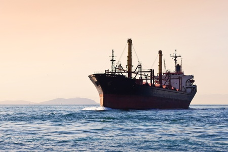 Silhouette of cargo ship Stock Photo - 11888326