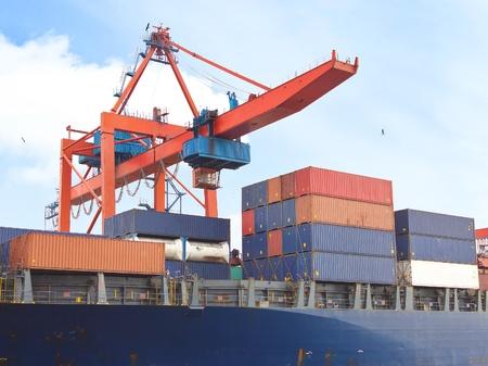 duties: Cargo containers under quayside crane
