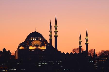 suleymaniye: Suleymaniye Mosque, Istanbul at sunset Stock Photo