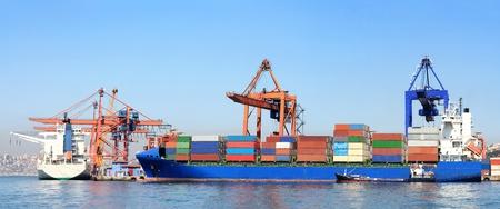 Zeehaven met kleurrijke containers, kade dragers, kranen en schepen Redactioneel