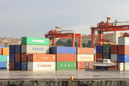 portage: ISTANBUL - NOVEMBER 14: Haydarpasa Port on November 14, 2011 in Istanbul. Port build by the Anatolian Railway on April 20, 1899 has capacity of 1,200 vesselsyear with open storage area of 350,000 m2 Editorial