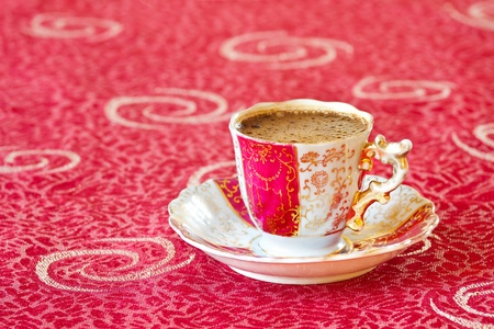 turk: Turkish coffee in an aged style cup