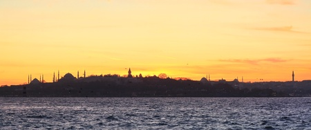 constantinople: Silhouette of old city in Istanbul