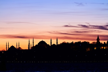 Istanbul, Sarayburnu. In the distance are such landmarks as Blue Mosque, Hagia Sophia and Topkapi Palace
