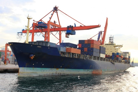 freighter: Cargo container ship under cranes in the sea port