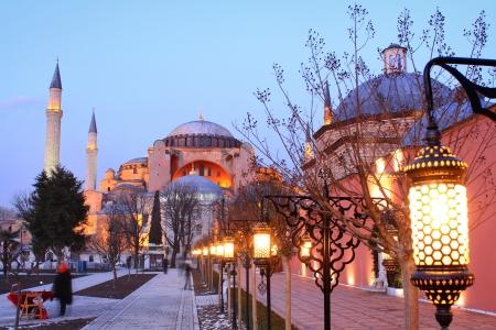 Istanbul, de Hagia Sophia in 's nachts Stockfoto
