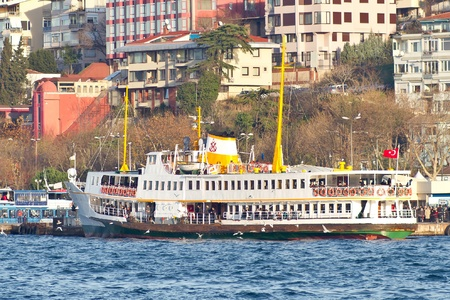 ferryboat: ISTANBUL - DECEMBER 10: City ferryboat in Port Uskudar on December 10, 2011 in Istanbul, Turkey. Ships still most common way for the transportation in here Editorial