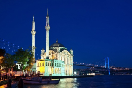 bosporus: Night at Ortakoy, Istanbul Stock Photo